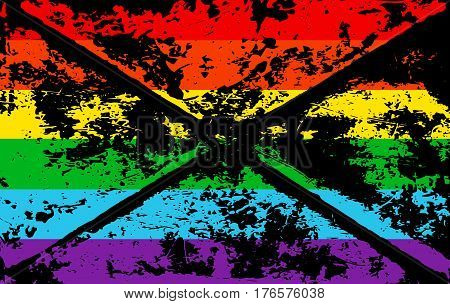 Striped rainbow texture gay memory pride flag lgbt community. Vector symbol gay-pride. Symbol grunge-design style design element for flyers banners or t-shirts.