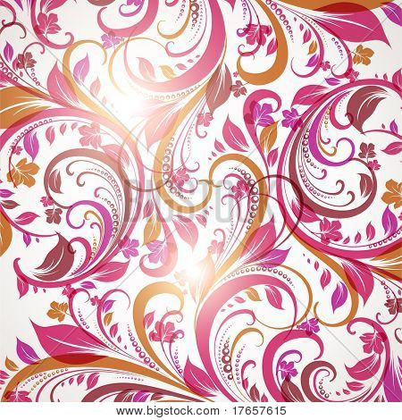 Seamless wallpaper with floral ornament with leafs and flowers for vintage design, Vector spring or summer retro background. Eps 10. poster