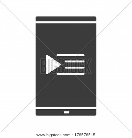 Smartphone playlist icon. Silhouette symbol. Smart phone with music play list. Negative space. Vector isolated illustration