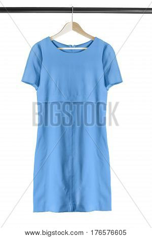 Elegant blue dress on wooden clothes rack isolated over white