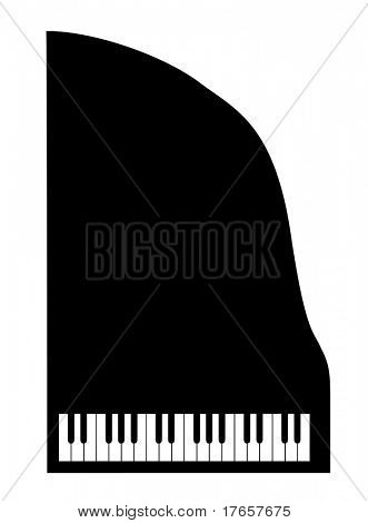 silhouette grand piano on white background