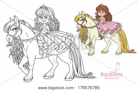 Cute Little Princess Riding On A White Horse Color And Outlined Picture For Coloring Book On White B