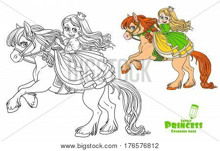Cute Princess Riding On Horse That Bucks Front Hooves Color And Outlined Picture For Coloring Book O