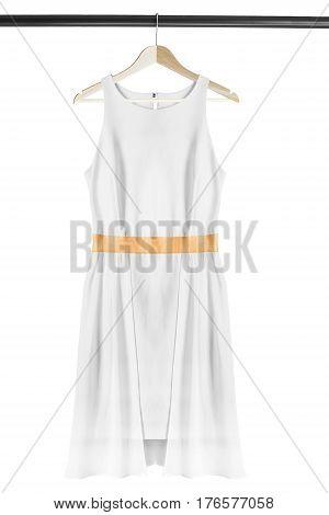 White elegant sleeveless dress on wooden clothes rack isolated over white