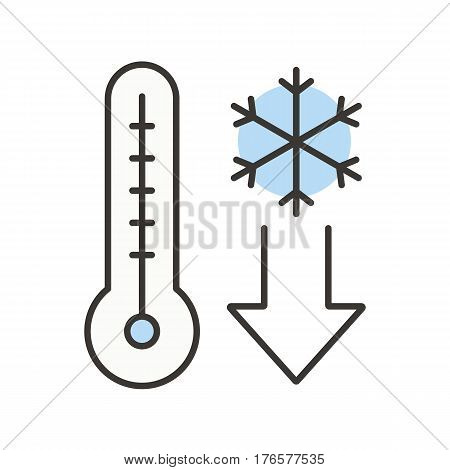 Temperature falling color icon. Thermometer with snowflake. Cold winter weather. Isolated vector illustration