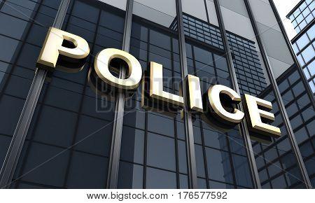 Black big building and sign police. 3d illustration