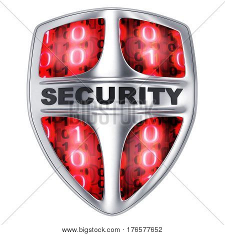 Shield security red on isolated white background. 3d illustration