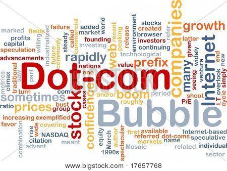 Background concept wordcloud illustration of dot-com bubble