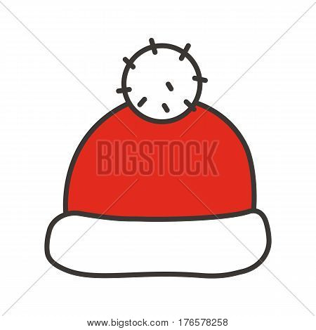 Santa Claus hat color icon. Winter cap with pom pom. Isolated vector illustration