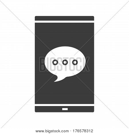 Chat box on smartphone screen icon. Silhouette symbol. Smart phone with dialogue bubble. Texting. Negative space. Vector isolated illustration