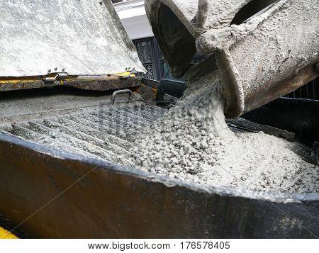 Concrete Mix Pouring Into Hopper