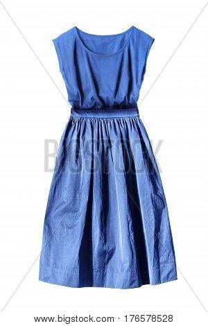 Blue elegant knee length dress on white background