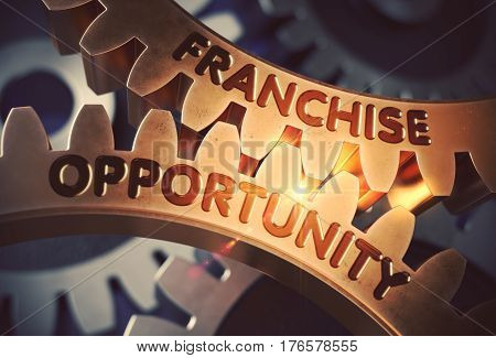 Franchise Opportunityon the Golden Metallic Gears. Franchise Opportunity - Illustration with Lens Flare. 3D Rendering.