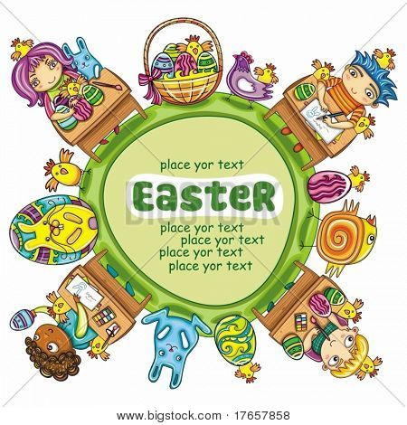Colorful Easter arrangement with space for your text.  Green planet and Cute little children painting spring eggs. Traditional holiday Easter Basket and bunny or rabbit.