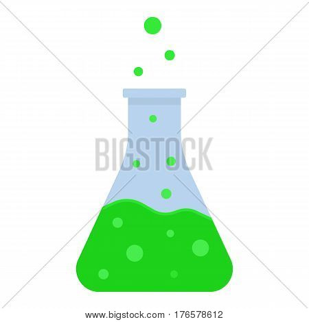 Green boiling potion color icon. Laboratory flask. Chemical reaction. Isolated vector illustration