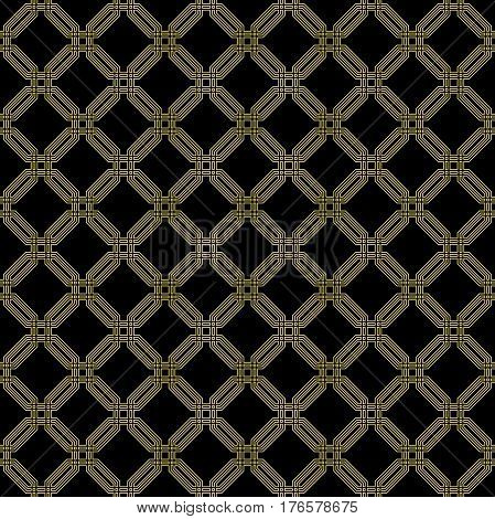 Geometric fine abstract octagonal background. Seamless modern pattern with golden octagons