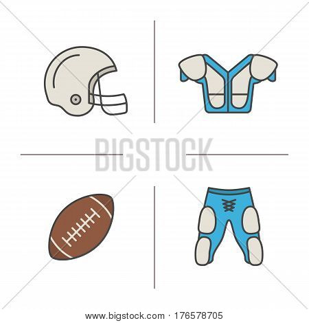 American football equipment color icons set. Helmet, shoulder pad, ball, shorts. Isolated vector illustrations