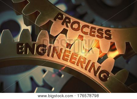 Process Engineering on Mechanism of Golden Metallic Cog Gears. Process Engineering - Technical Design. 3D Rendering.