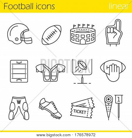 American football linear icons set. Helmet, shoulder pad, ball, shorts, Hand holding ball, goal sign, foam finger, game tickets, arena. Thin line contour symbols. Isolated vector illustrations