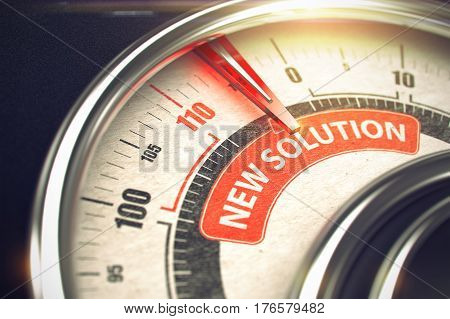New Solution Rate Conceptual Meter with Caption on Red Label. Business Concept. Horizontal image. 3D Render.