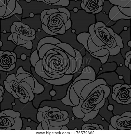 Seamless floral mosaic pattern with gray roses on dark gray background with dots