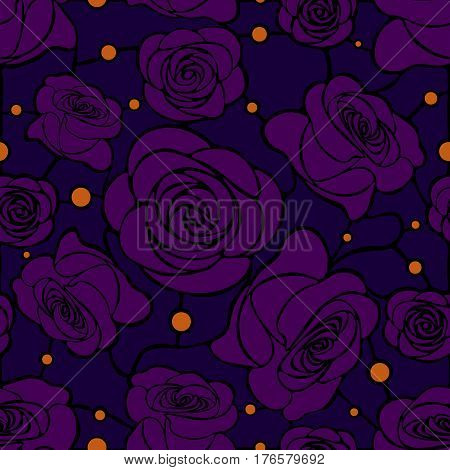 Seamless floral mosaic pattern with violet roses on dark blue background with orange dots
