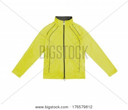 Yellow Women's Training Sports Jacket; Isolated On White Background
