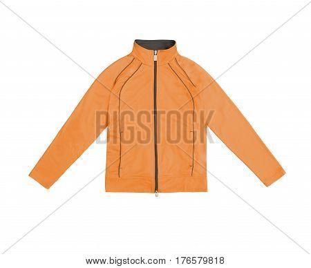 Orange Women's Training Sports Jacket; Isolated On White Background