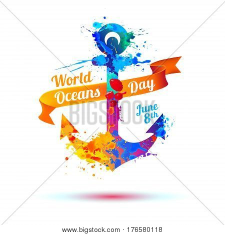 World Oceans Day. June 8th. Anchor of splash paint