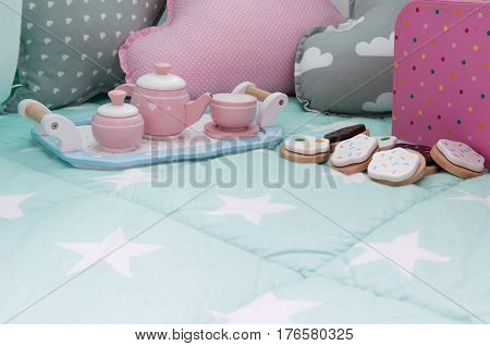 Children's Bedroom Interior With Tea Set And Toys