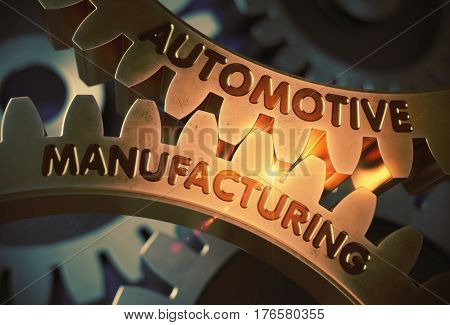 Automotive Manufacturing - Illustration with Lens Flare. Automotive Manufacturing - Concept. 3D Rendering.
