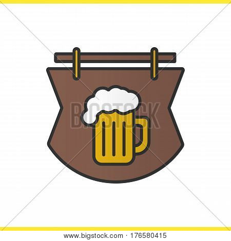 Wooden bar sign color icon. Tavern. Pub signboard with foamy beer glass. Isolated vector illustration