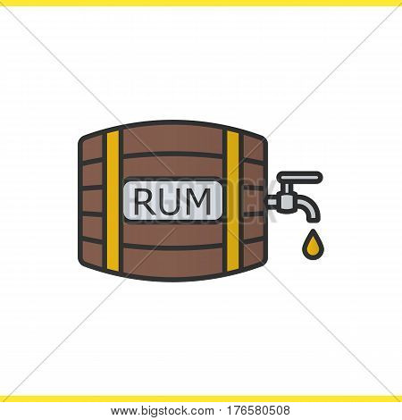 Rum wooden barrel color icon. Alcohol barrel with tap and drop. Isolated vector illustration