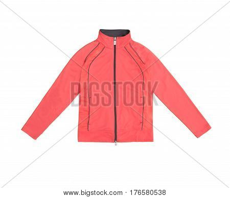 Red Orange Pink Women's Training Sports Jacket; Isolated On White Background
