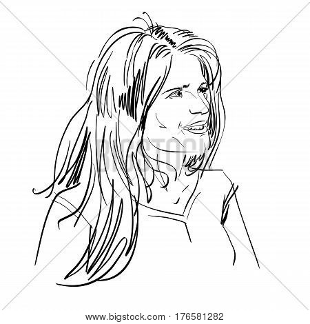 Portrait of delicate good-looking flirting woman black and white vector drawing. Emotional expressions idea image. Caucasian type of person.