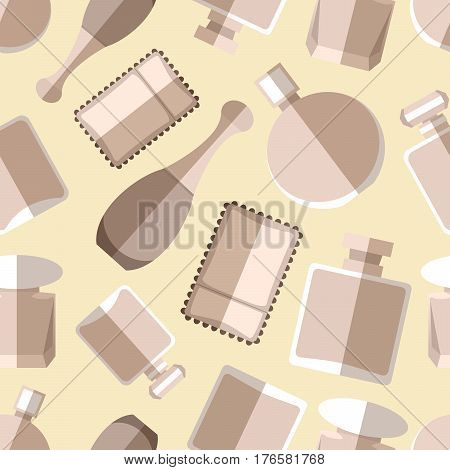 Seamless pattern background with simple monochrome perfumery flat icons vector illustration