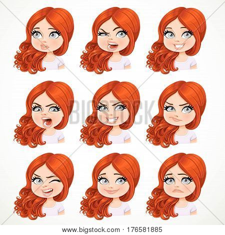 Beautiful cartoon brunette redhaired girl portrait of different emotional states isolated on white background