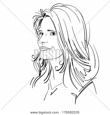 Hand-drawn portrait of white-skin dreamy woman face emotions theme illustration. Beautiful lady posing on white background.