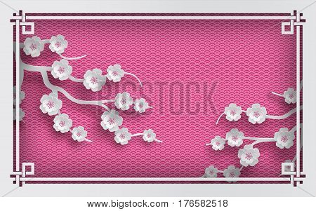 Floral background with oriental frame on pink pattern backdrop and cherry flowers for greeting card paper cut out style. Vector illustration layers are isolated