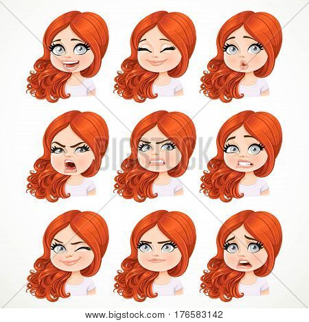 Beautiful Cartoon Brunette Redhaired Girl Portrait Of Different Emotional States Set 3 Isolated On W
