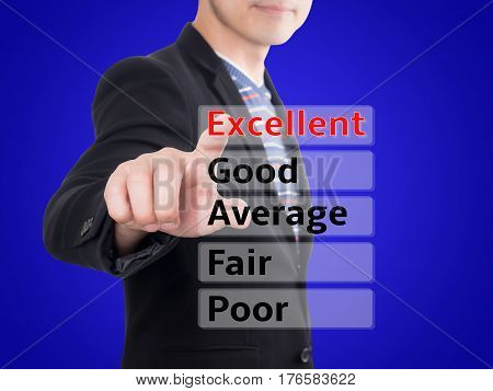 Casual business man point finger for rate performance evaluation in Excellent rating with blue background