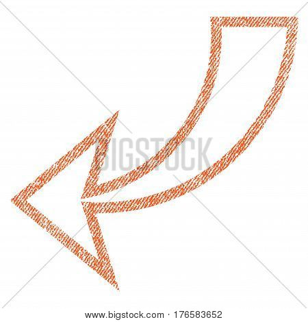Undo vector textured icon for overlay watermark stamps. Fabric orange vectorized texture. Symbol with unclean design. Rubber seal stamp with fiber textile structure.