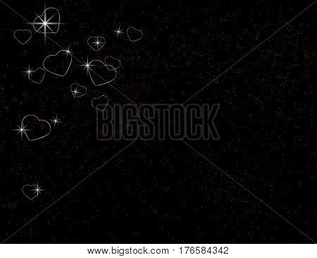 Abstract Sparkling Golden Harts asn Shinig Stars on Black. Holiday Background. Vector Illustration.