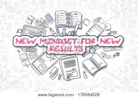 New Mindset For New Results Doodle Illustration of Magenta Word and Stationery Surrounded by Doodle Icons. Business Concept for Web Banners and Printed Materials.