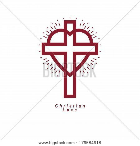 Christian Love And True Belief In God Vector Creative Symbol Design, Combined With Christian Cross A