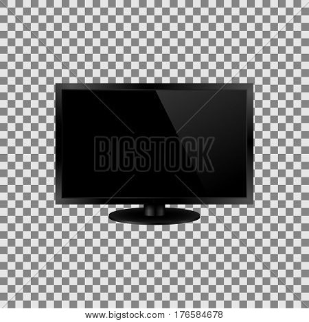 Frontal view of led or lcd internet tv monitor. Vector illustration. Isolated on transparent background.