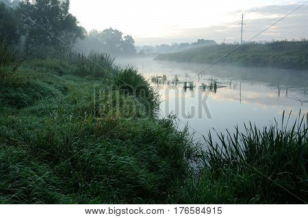 Sunrise and mist on the beautiful river