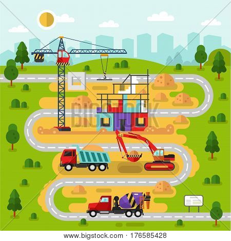 Flat design vector landscape illustration city map with construction process. Including house crane bulldozer or excavator concrete mixer road cement uploading truck with sand.