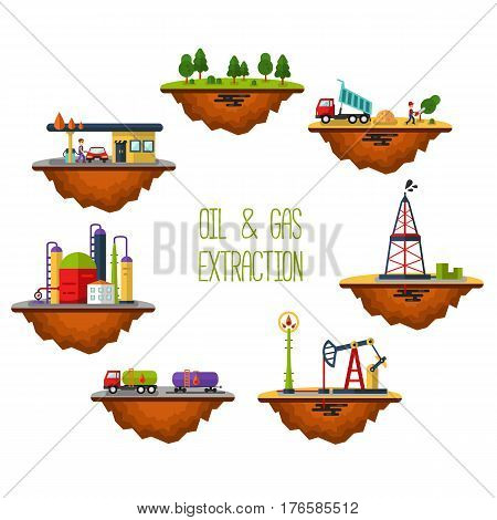 Flat design vector landscape infographics of oil and gas extraction delivery and storage. Including rig pumping station factory gas station cargo tank petroleum refinery. Illustration isolated