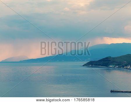 Minimal View Of Sea, Crimea. Morning Seascape Of Rocky Shore In Morning Sunshine. Minimalism.